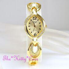 OMAX Ladies Seiko Movt Unusual Enamel Gold PL Watch w/ Swarovski Crystals JE0572