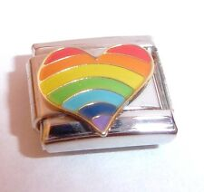 RAINBOW HEART Italian Charm - Gay Pride LOVE 9mm fits Classic Starter Bracelets