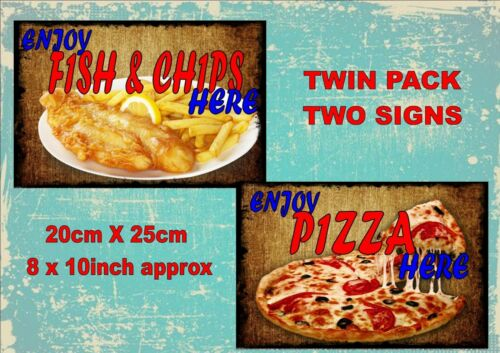 Vintage Style Fish /& Chips Signs Pizza Takeaway Signs Old  Style Signs  2 PACK