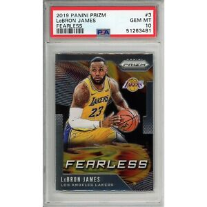 LeBron James 2019-20 Panini Prizm Fearless #3 PSA 10 Gem Mint! Lakers!