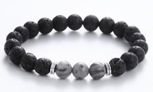 "Black Lava Stone & Healing Gray Lace Jasper Silver Beaded Stretch Bracelet 7.5"""