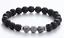 "thumbnail 1 - Black Lava Stone & Healing Gray Lace Jasper Silver Beaded Stretch Bracelet 7.5"""
