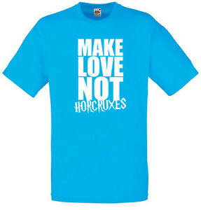 Make-Love-Not-Horcruxes-Harry-Potter-inspired-Men-039-s-Printed-T-Shirt