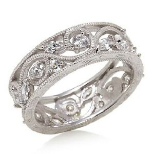 XAVIER-ABSOLUTE-FLORAL-ETERNITY-STERLING-SILVER-BAND-RING-SIZE-5-HSN-SOLD-OUT