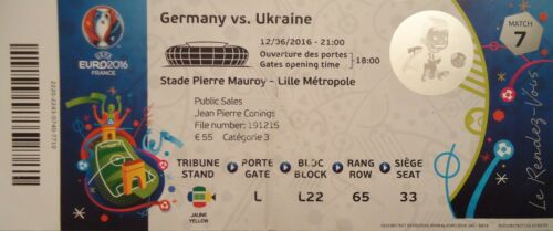 Ukraine # Match 7 TICKET UEFA Euro 2016 Deutschland Germany