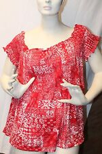 NEW WOMENS PLUS SIZE 3X RED FOLKLORE SMOCKED OFF SHOULDER SHIRT TOP WORK OR PLAY
