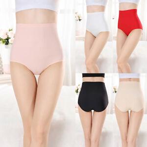 Cotton-High-Waist-Abdomen-Brief-Underpants-Panties-Indentation-Womens-Underwear