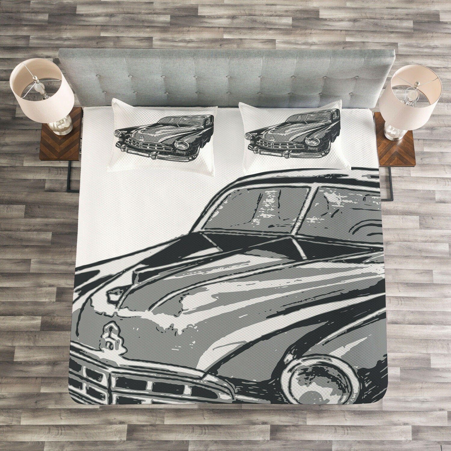 Cars Quilted Bedspread & Pillow Shams Set, Retro Car Detailed Hood Print