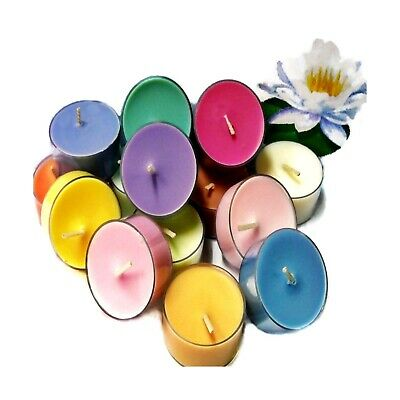 6 Dye Free PATCHOULI Soy Wax Clear Cup Tea Lights Made with Essential Oils