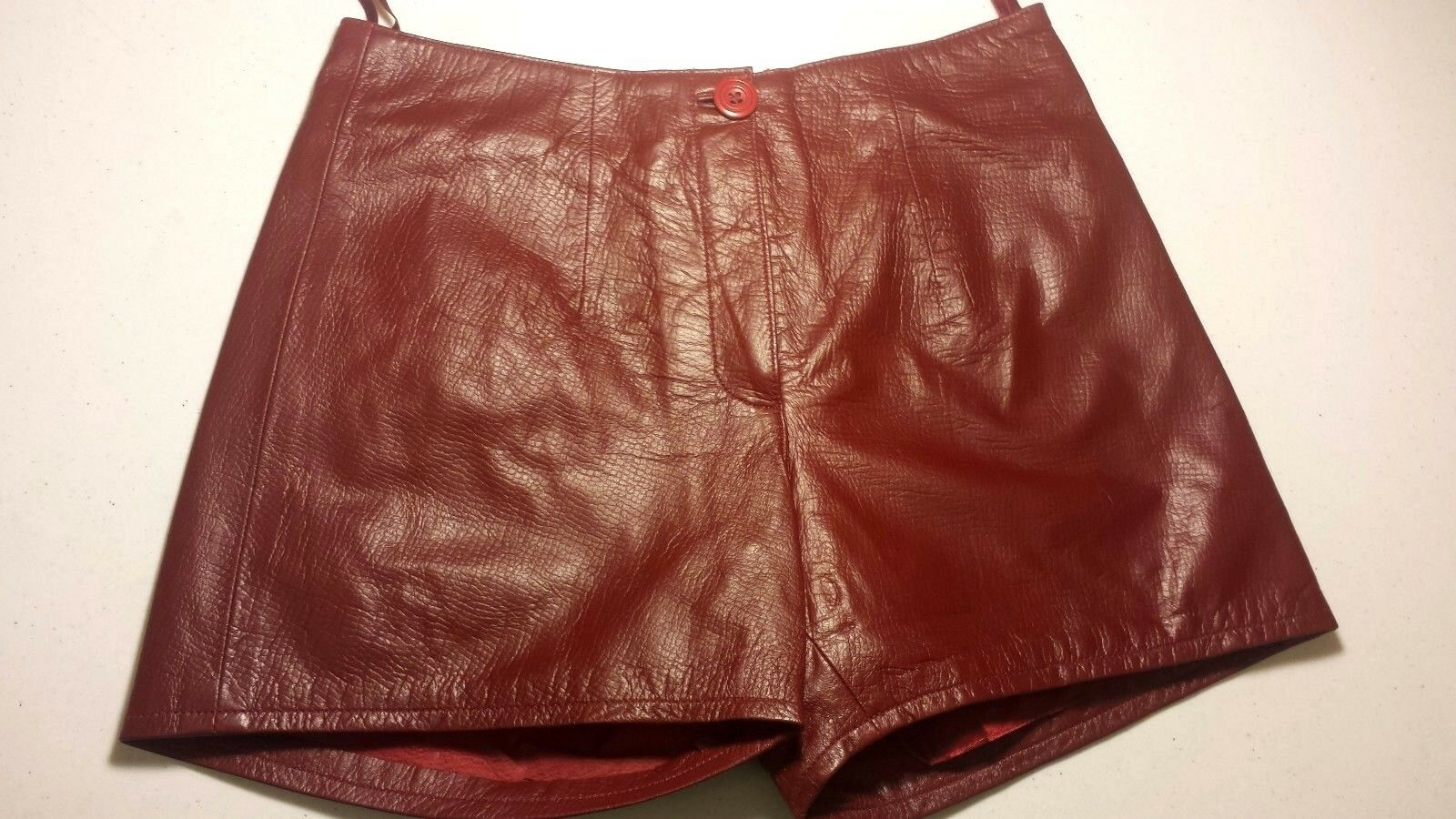 SEXY GENUINE LAMB LEATHER LADIES SHORTS LINED BURGUNDY SOFT LEATHER SIZES  S, M