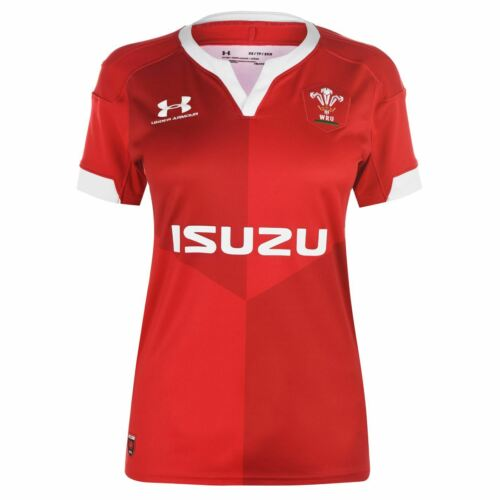 Under Armour Wales Home Rugby Shirt 2019 2020 Ladies Short Sleeve V Neck