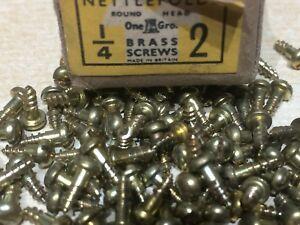 "25  3//8/"" x 2 NETTLEFOLDS BRASS SLOTTED ROUND HEAD WOOD SCREWS TINY CLOCK REPAIR"