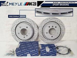 BMW-E36-M3-EVO-REAR-DIMPLED-AND-GROOVED-BRAKE-DISC-DISCS-MEYLE-PADS-SHOES-KIT