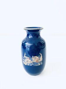 Cobalt-Blue-Japanese-Style-Vase-Peacocks-Flowers-Vintage-Gold-Trim-Estate-3-5-H