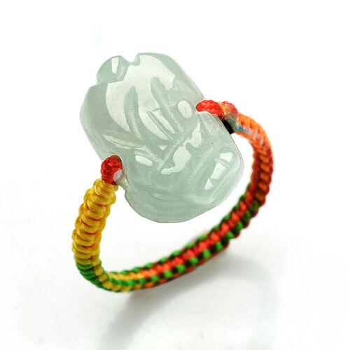 Grade A Green Jadeite Burma Jade Ring Beads RED String Hand carved PIXIU 貔貅