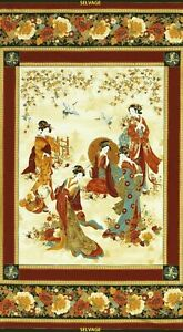 Pre-cut-Panel-Kyoto-Blossoms-Geishas-by-Chong-A-Hwang-Kyoto-CM3479-Cream