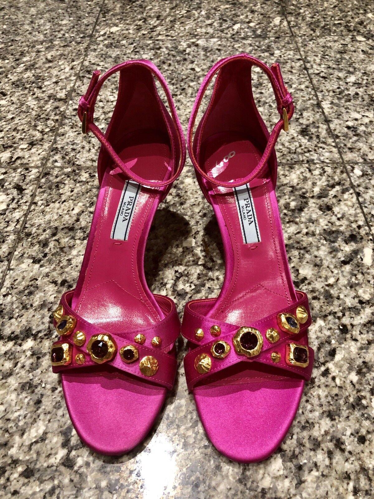 PRADA Fuchsia Pink Satin Jeweled Crystal Ankle Strap Heels