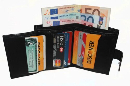 REAL LEATHER MENS HIGH QUALITY LUXURY SOFT BLACK SLIM WALLET CARD COIN SW 106