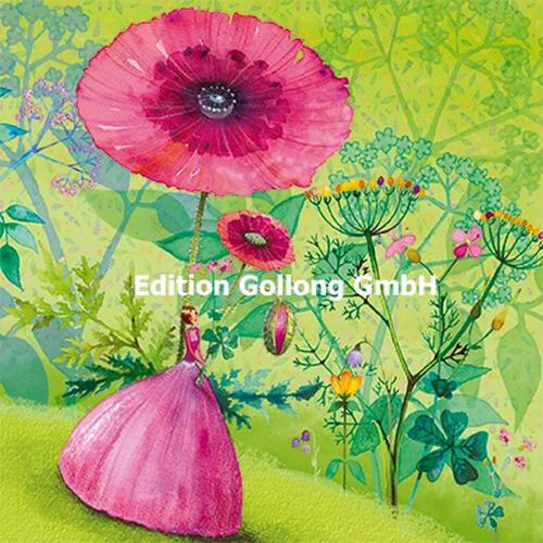 MILA MARQUIS*Postkarte*Glitzereffekt*Blumenmädchen/&Schmetterlinge*14x14cm