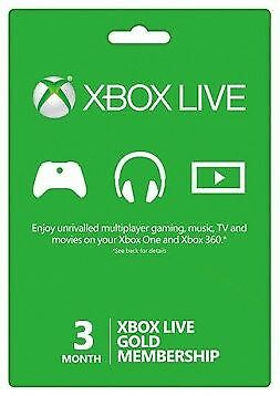 Xbox One live Gold 3 month membership