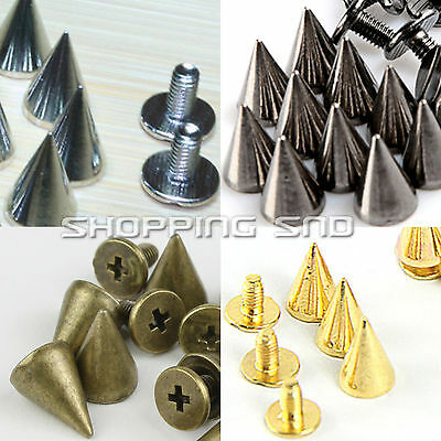 RUBYCA 10mm Cone Spikes Screwback Metal Studs Leather Silver Gold Black Bronze