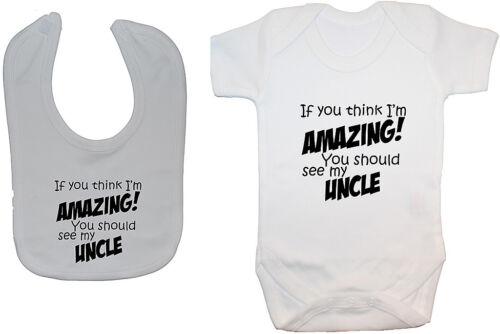 Amazing Uncle Babygrow Bodysuit Romper Vest /& Feeding Bib NB-24m Unisex Funny