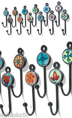 Coat Hook Hand Painted Ceramic Small Metal Hooks Various Colours Fair Trade New