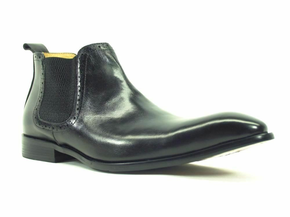 Carrucci Men's Leather Chelsea Boots Black Dress shoes KB503-11