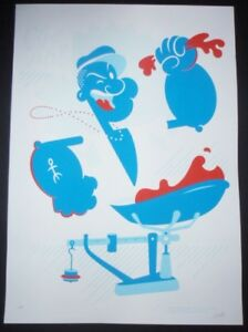 5-Day-Sale-POPEYE-Signed-Cuban-Screenprint-COMICS-Poster-Salutes-US-Cuba-Ties