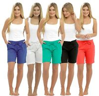LADIES CASUAL LINEN SHORTS SUMMER HOLIDAYS BEACH WEAR SIZE 10-18