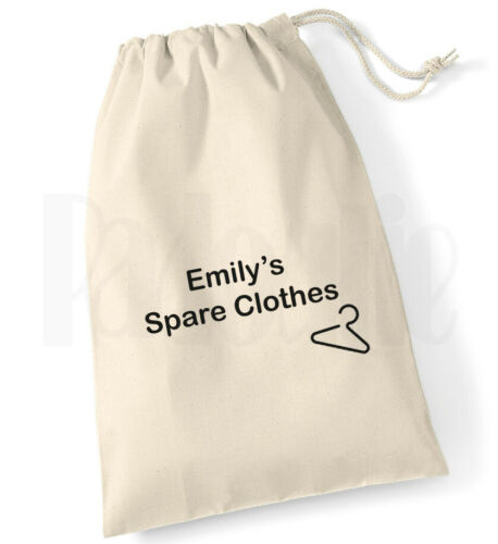 Personalised Childrens /'Spare Clothes/' Bag Drawstring Cotton Canvas Bag