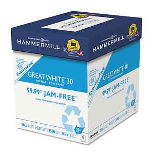 Springhill Great White Recycled Copy Paper 92 Brightness 20lb 8-1/2 x 11 2500