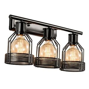 Details About Black Vanity Light Industrial Bathroom 3 Lights Wall Sconce Bulb Not Include