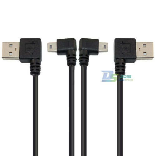 USB 2.0 A Left  Right Male to Mini B 5Pin Male Plug Adapter Converter Cable Cord