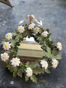 Petites-Choses-6-inch-Mirror-Metal-Frame-Porcelain-Flowers-Vintage