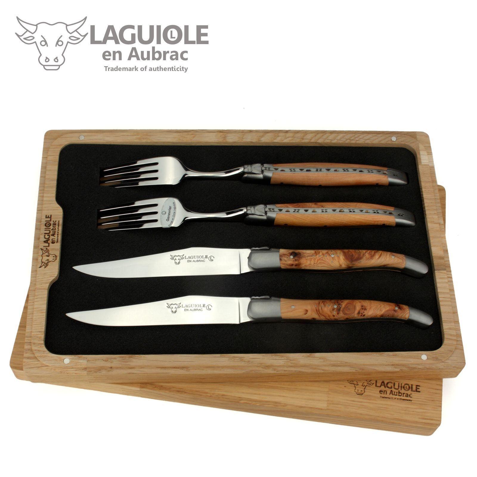 Laguiole en Aubrac - 2 couteau à viande + 2 fourchettes-genièvre-couverts France