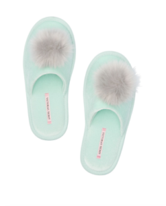 fbc2767a17568 Details about VICTORIA SECRET SLIPPERS POM POM WOMENS SMALL MERMAID TEAL  SLIP ON RUBBER SOLE