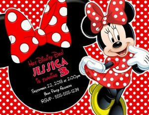 Image Is Loading Minnie Mouse Birthday Party Invitations Invites Personalized Custom