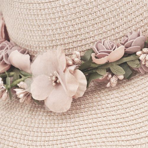 Women Ladies Summer Sun Beach Hat Outdoor Sun Hat with Flowers Elegan  SG
