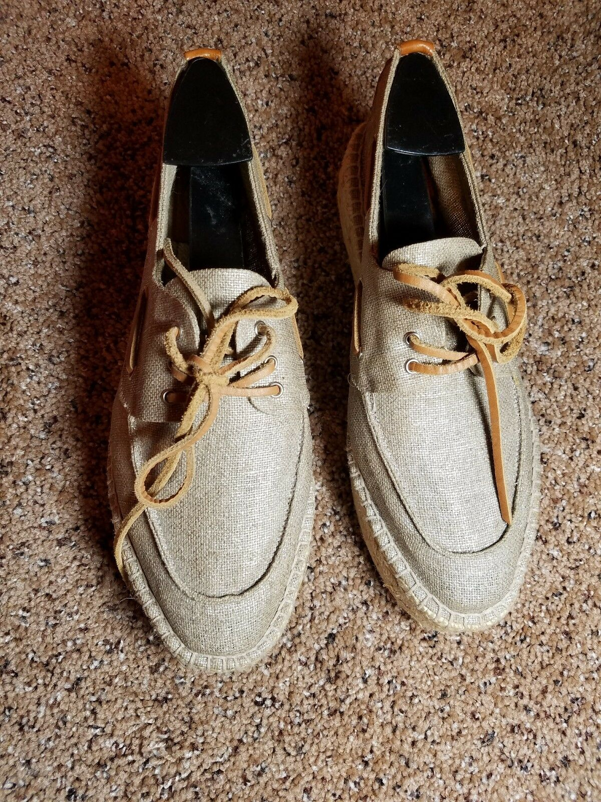 Tory Burch Cute Champagne color Espadrille Lace Up Platform Loafers in a size...