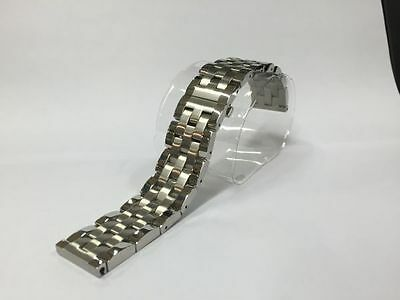 SOLID LINK STAINLESS STEEL 316L WATCH STRAP WITH BUTTERFLY CLASP SEIKO STYLE