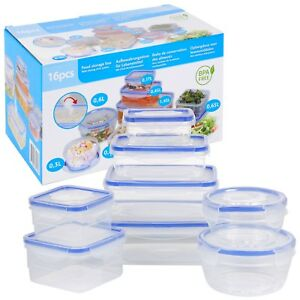 Set Of 8 Food Storage Clip Seal Lock Lids Storage Containers Boxes