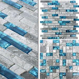 Glasmosaik Natursteinfliesen Sinop Grau Blau Wand Bad Dusche