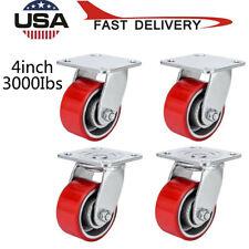 4 Heavy Duty Caster Set 4 4 Inch Polyurethane On Cast Iron Wheels No Mark Red