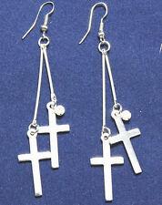 New fashion of dangling Silvery white cross earrings E172-2