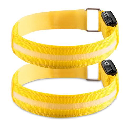 2x Bracelet Lumineux LED Sécurité Rechargeable Visibilité avec Lumière Réglable