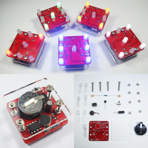 3Pcs Geekcreit DIY Shaking Red LED Dice Kit With Small Vibration Motor