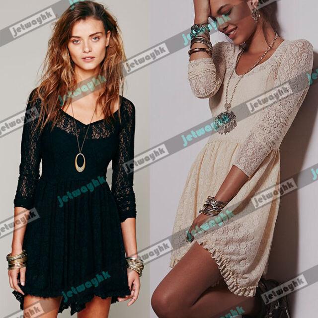 Free Boho Festival People Intimately Look Both Ways Lace Slip Mini Dress Sheer