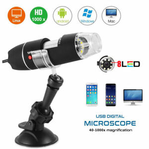 1000X USB Microscope Camera Digital Endoscope Magnifier PC Android 8 LED w/Stand 651421914966