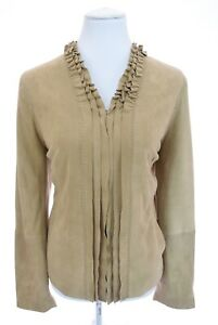 Madison Hill Ruffled Beige Suede 100% Leather Jacket Full Zip Blazer Women Sz 12